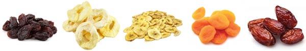 Top 5 getrocknete Früchte